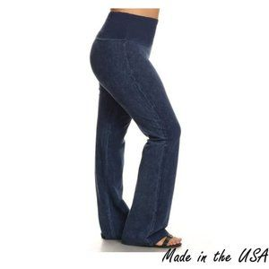 Mineral washed bootcut - Wide fold-over waistband
